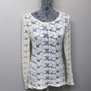 Free People women's ivory color lace top